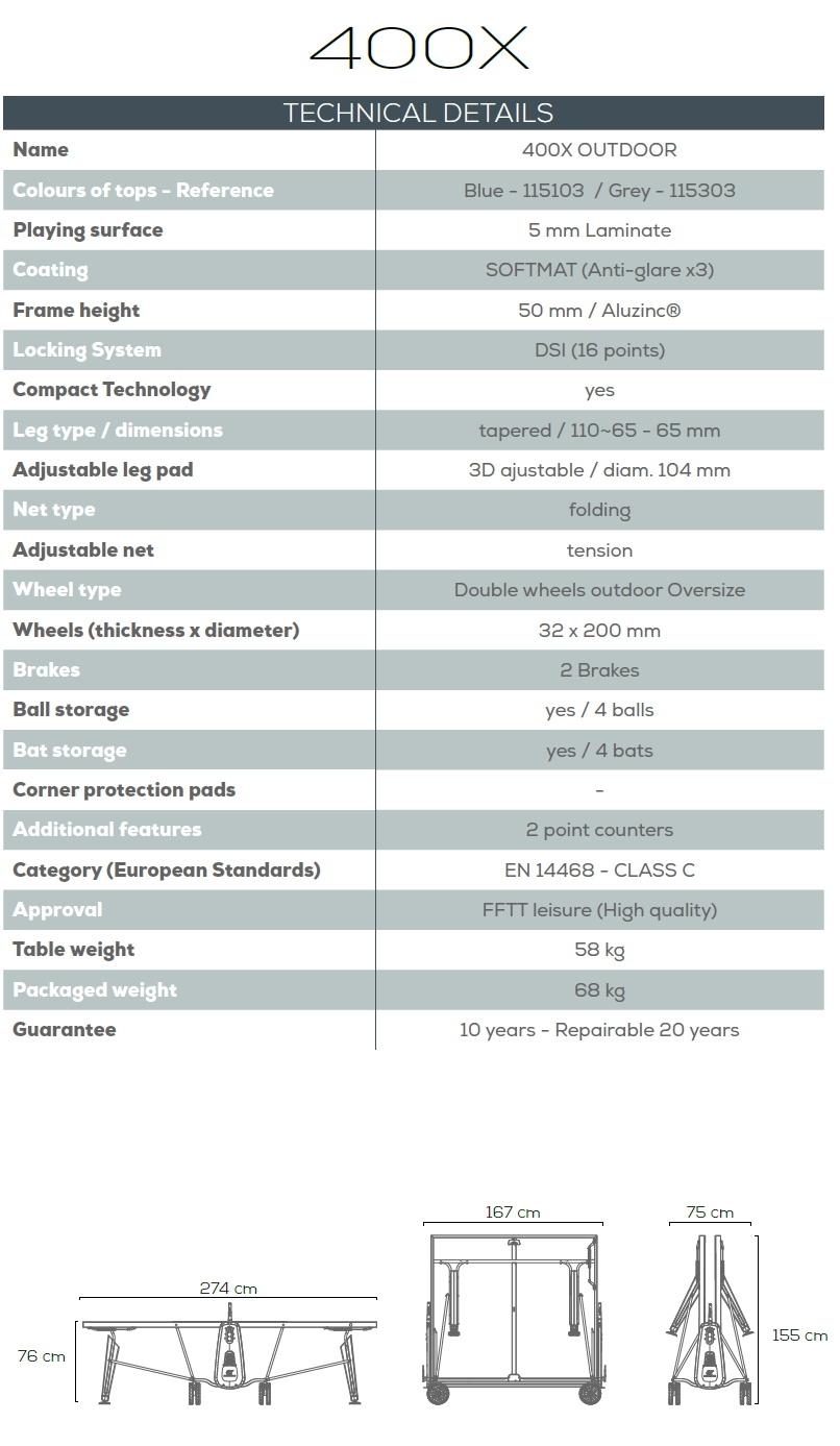 Cornilleau 400X Specifications Sheet