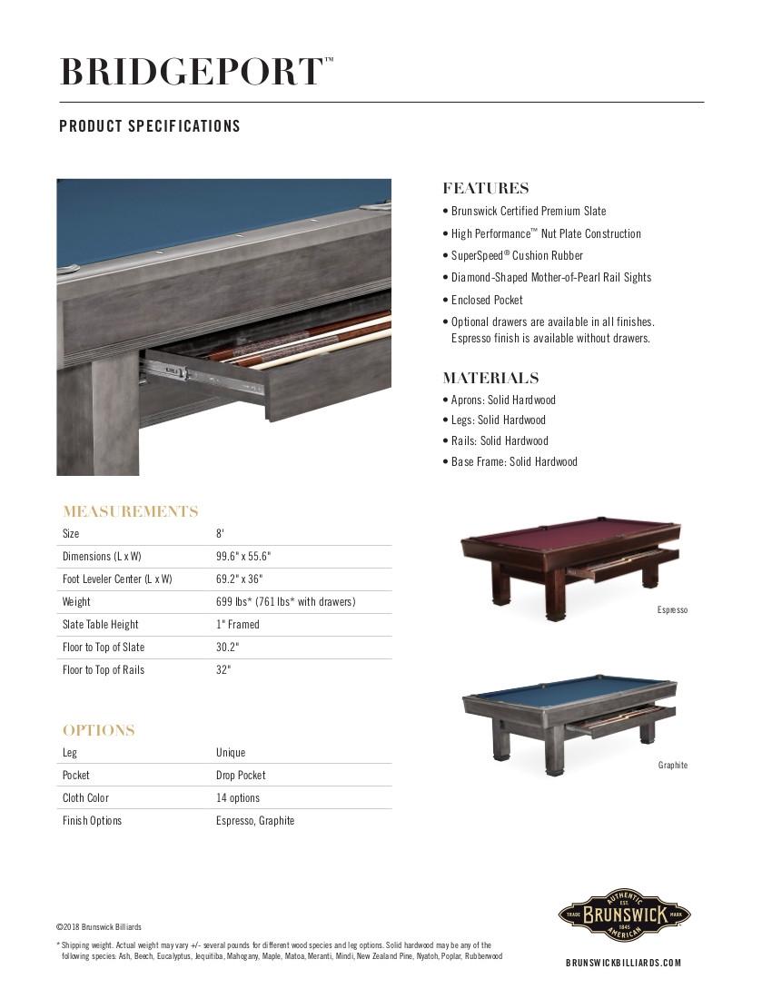 Bridgeport Product Sheet