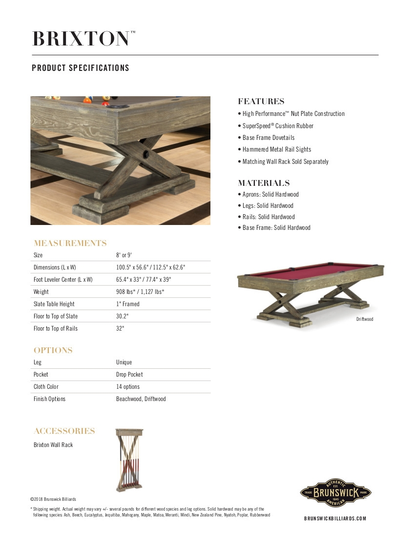 Brixton Product Sheet