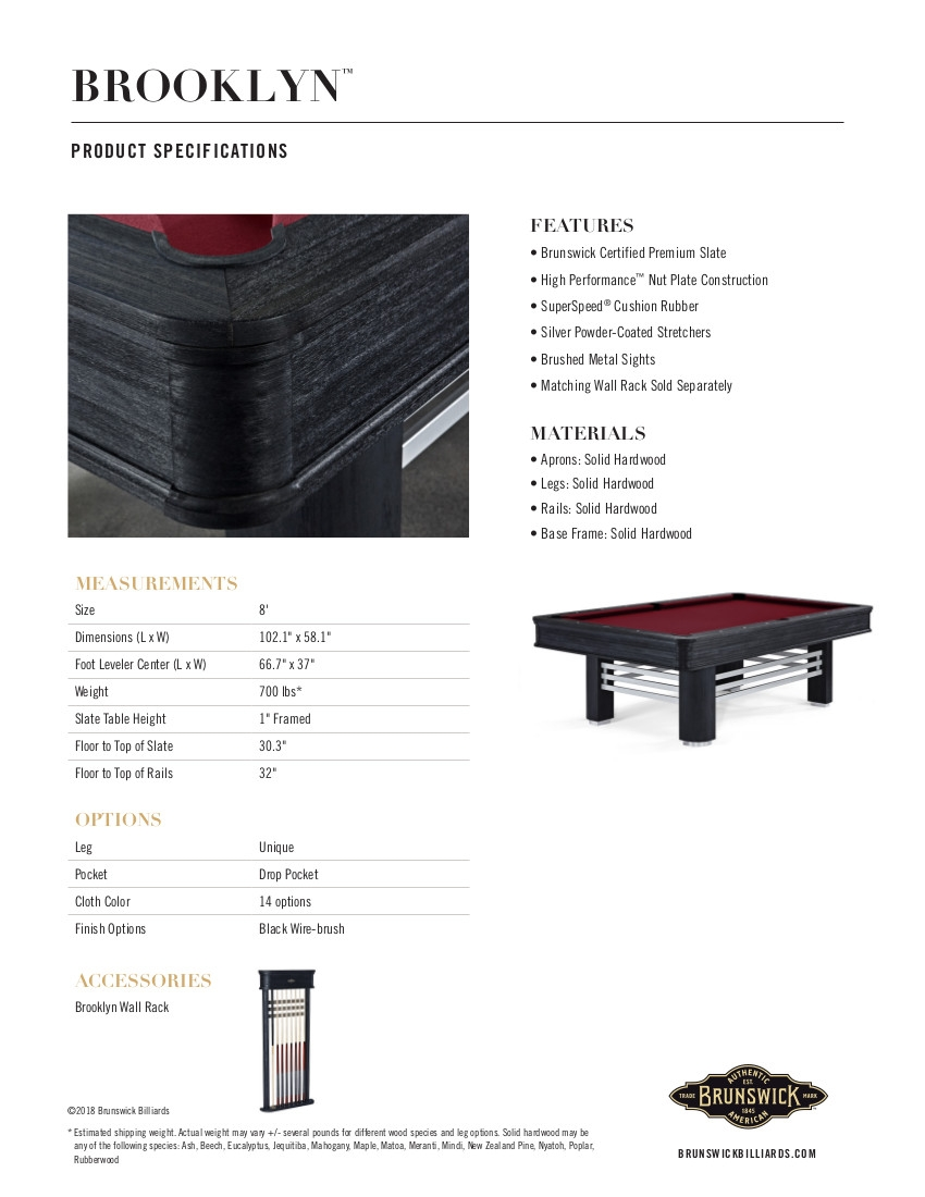 Brooklyn Product Sheet