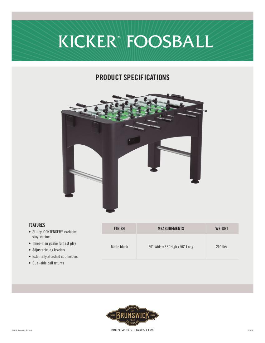 Brunswick Kicker Foosball Table Foosball Tables Foosball