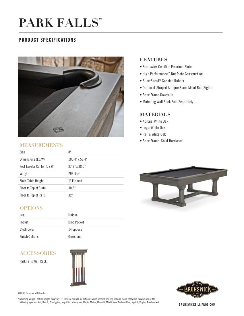Park Falls Product Sheet